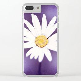 Purple Yellow Photography, Daisy Flower Art, Purple Violet Nature Photo Print Clear iPhone Case