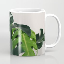 Minimalist Mid Century Scandinavian Style House Plant Mostera Green Leaf Zen Photo Coffee Mug