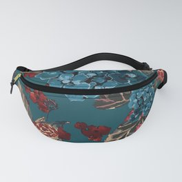 Deep moody floral watercolor - dark red,  rich dark blue and brown Fanny Pack