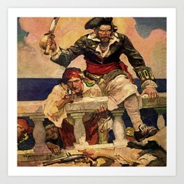 """Blackbeard Boarding"" Pirate Art by Frank E Schoonover Art Print"