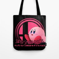smash bros Tote Bags featuring Kirby - Super Smash Bros. by Donkey Inferno