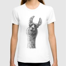 Cute Llama G135 Womens Fitted Tee MEDIUM White