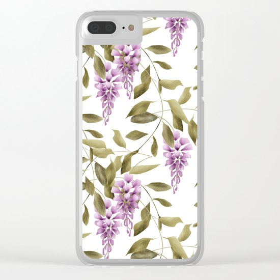 The Branches Of Wisteria .  White background . Clear iPhone Case