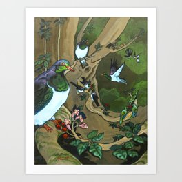 Pigeons, Parakeets and Fantails Art Print