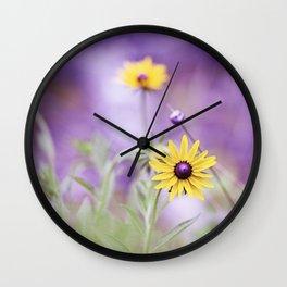 Purple Yellow Flower Photography, Purple Gold Green Nature Art Print, Daisy Floral Photo Wall Clock