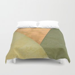 Golden Triangle With Green and Cream Duvet Cover