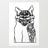 maori Art Prints featuring Maori Kitty by Sofy Rahman