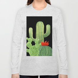 Perfect Cactus Bunch on Black Long Sleeve T-shirt