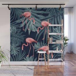 Summer Flamingo Jungle Night Vibes #1 #tropical #decor #art #society6 Wall Mural