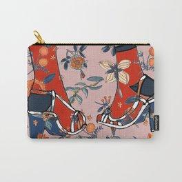 Fashion Illustration Shoe Floral Design Carry-All Pouch