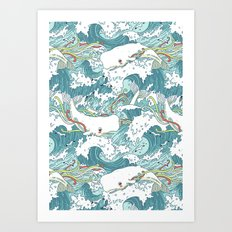 Whales and waves pattern Art Print