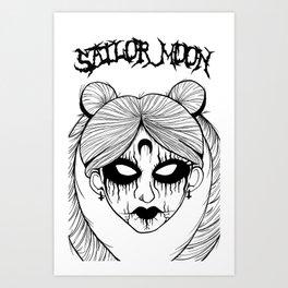 Black Metal Sailor Moon Art Print
