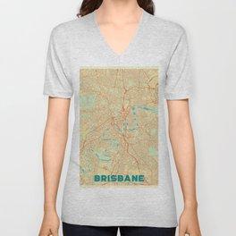Brisbane Map Retro Unisex V-Neck