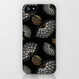 African Floral Motif on Black iPhone Case