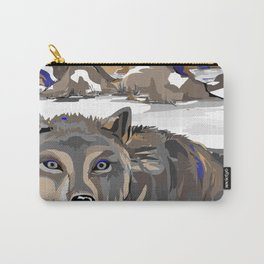 """Lone Wolf"" Paulette Lust's Original, Contemporary, Whimsical, Colorful Art  Carry-All Pouch"