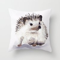 hedgehog Throw Pillows featuring Hedgehog by Bridget Davidson