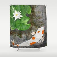 amy pond Shower Curtains featuring Pond by B Hoagland