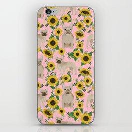 French Bulldog sunflowers sunflower floral dog breed dog pattern pet friendly pet portrait iPhone Skin