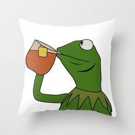 Kermit Inspired Meme King Sipping Tea Throw Pillow