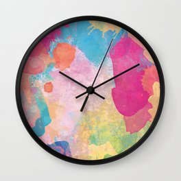 Multicolored Abstract Dirty Stains Wall Clock