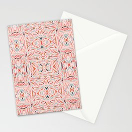 Boho Tile Abstraction / Coral and Blue Stationery Cards
