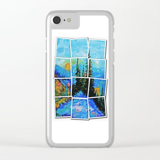 Mountain Blues Painting Clear iPhone Case