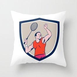 Badminton Player Racquet Striking Crest Cartoon Throw Pillow