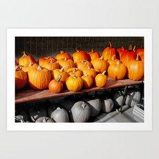 Kürbis orange and mono Art Print
