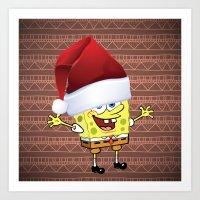 spongebob Art Prints featuring Spongebob Celebration by Neo Store