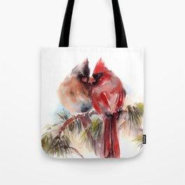 Cardinal Birds Couple Tote Bag