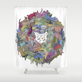 Cats Donut Galaxy - Rainbow Earth Shower Curtain
