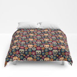 Day Of The Dead Pattern | Dia De Los Muertos Skull Comforters