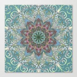 Mandala Bohemian Lace Flower, Gypsy Teal Green, Magenta, Pink Canvas Print