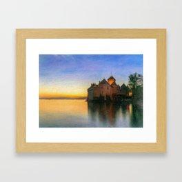 Chillon Sunset in Oil Framed Art Print