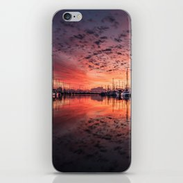 Gorgeous harbor and boats reflection landscape on a beautiful waterfront at stunning sunset time iPhone Skin