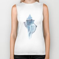 shell Biker Tanks featuring shell by Eazy Verdeacqua