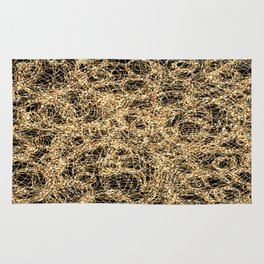 Gold Thread on Black | Abstract Brain Map 3 Rug