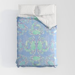 Watercolor blue crab Comforters