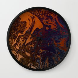 Orange Gradient Marble #marble #orange #blue #planet Wall Clock