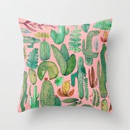 natural garden pink Throw Pillow