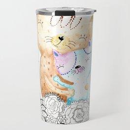 Watercolor Cats Illustration Travel Mug