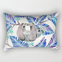 Happy Sloth – Tropical Blue Leaves Rectangular Pillow