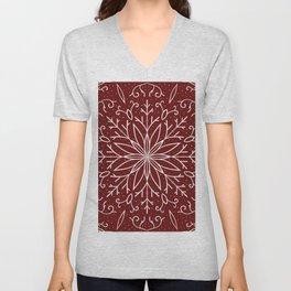 Single Snowflake - dark red Unisex V-Neck