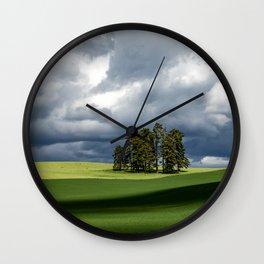 Tree Group in Green Field Wall Clock