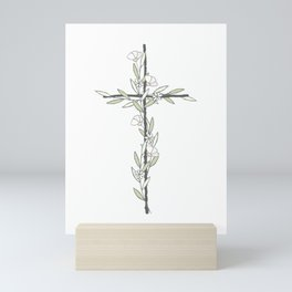 Cross With Little Flowers Mini Art Print