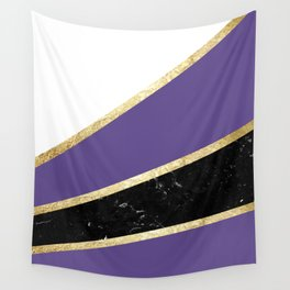 Ultra Violet, White, Black Marble and Gold Stripes Glam #1 #minimal #decor #art #society6 Wall Tapestry