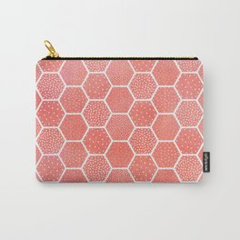 Coral Pink Honeycomb Carry-All Pouch