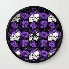 Purple Floral Skull Pattern Wall Clock