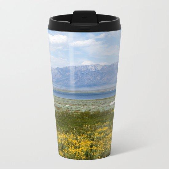 From Flowers to Mountains (Mono Lake, California) Metal Travel Mug