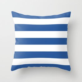 Cyan cobalt blue - solid color - white stripes pattern Throw Pillow